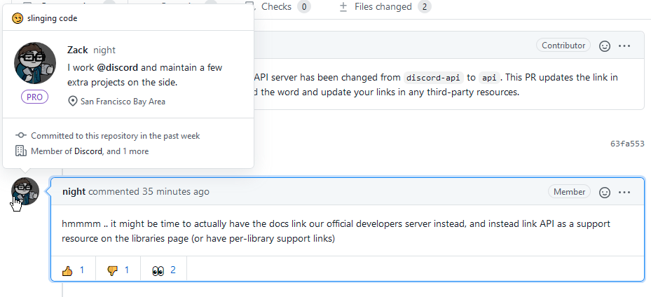"""Screenshot of the above-linked GitHub thread, where """"night"""" comments that he wishes to have the official  documentation remove its link to the Discord API server."""